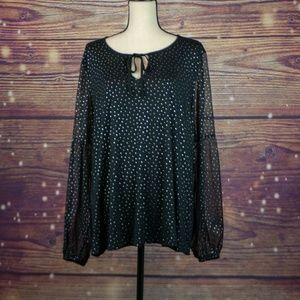 Boden Polka Dot Peasant Blouse With Sheer Sleeves